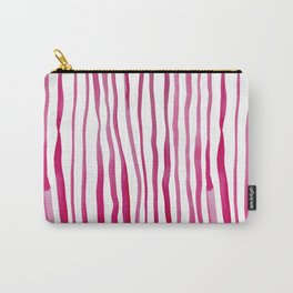 Vertical watercolor lines - red Carry-All Pouch