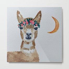 Alpaca With Flowers Metal Print