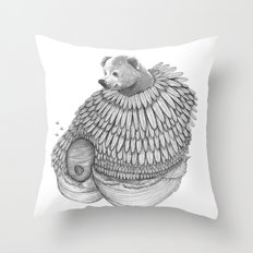 The Bear and the Bees- Feathered Throw Pillow