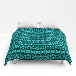 Abstract Pattern Dividers 02 in Turquoise Black Comforters