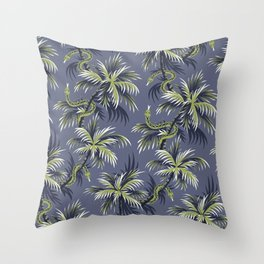 Snake Palms - Light blue/gold Throw Pillow