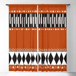 Bohemian orange, black&white tribal vibe Blackout Curtain