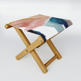 Exhale: a pretty, minimal, acrylic piece in pinks, blues, and gold Folding Stool