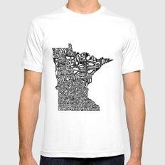 Typographic Minnesota MEDIUM White Mens Fitted Tee