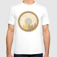 Moon & Mountains Mens Fitted Tee White MEDIUM