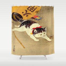 Japanese Woodblock Print Cat Lantern Playful Vintage Art Shower Curtain
