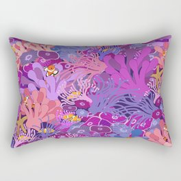 Block Party on the Reef - Clownfish Anemone Marine Sea Life Coral Rectangular Pillow