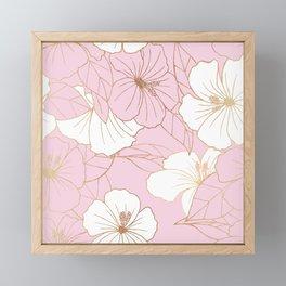 Pastel Pink & Gold Hibiscus Floral Framed Mini Art Print
