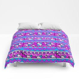 Latin American Pattern Pink Purple Blue. Funky Art. Colourful Pattern Comforters