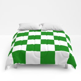 Large Checkered - White and Green Comforters