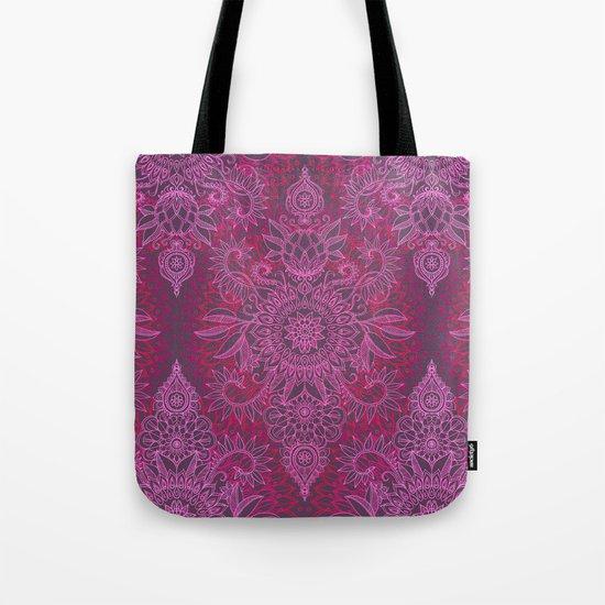 Magenta, Pink & Coral Protea Doodle Pattern Tote Bag