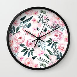 Floral Rose Watercolor Flower Pattern Wall Clock