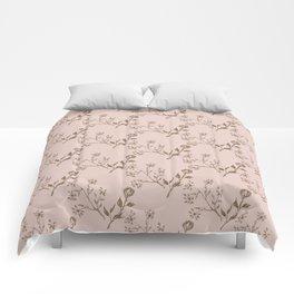 Elegant blush pink brown pastel chic floral Comforters