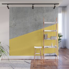Concrete and Primrose Yellow Color Wall Mural