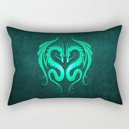 Teal Blue Twin Tribal Dragons Rectangular Pillow