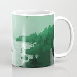 Norwegian Fjords 2 - Minimal Art in Green  Coffee Mug