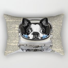 Space Pup with dictionary background Rectangular Pillow