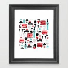 London icons illustration pattern print Framed Art Print