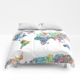 world map mandala watercolor white Comforters