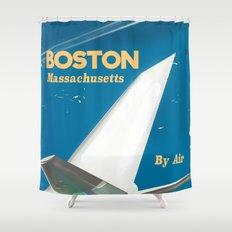 Boston, Massachusetts Vintage travel poster Shower Curtain