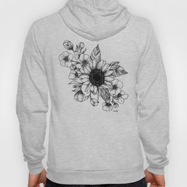 Bouquet of Flowers with Sunflower / Fall floral lineart Hoody