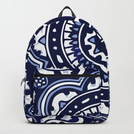 Talavera Mexican tile inspired bold design in blue and white Backpack