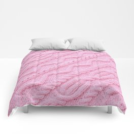 Pink Cableknit Knit Sweater Comforters