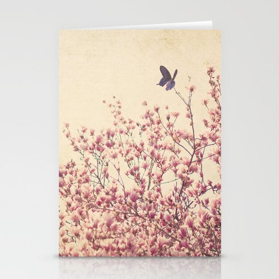 Butterfly and Pink Blossoms Stationery Cards