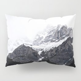 Moody snow capped Mountain Peaks - Nature Photography Pillow Sham