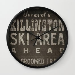 Killington Mountain Ski Area Sign Vermont Wall Clock