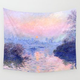 """Claude Monet """"Sunset on the Seine at Lavacourt. Winter Effect"""" Wall Tapestry"""