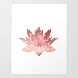 Pink Lotus Flower   Watercolor Texture Art Print