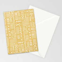 Mudcloth in yellow ochre Stationery Cards