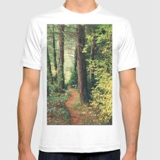 path White MEDIUM Mens Fitted Tee