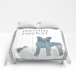 Denim Rocks French Bulldog Comforters