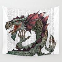 dragon Wall Tapestries featuring dragon by Erdogan Ulker