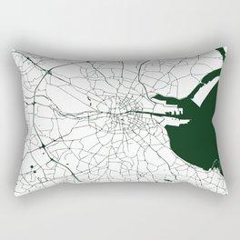 White on Dark Green Dublin Street Map Rectangular Pillow
