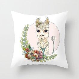 Healthcare Llama Throw Pillow