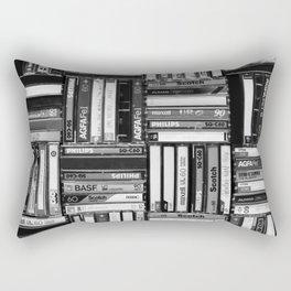 Music Cassette Stacks - Black and White - Something Nostalgic IV #decor #society6 #buyart Rectangular Pillow