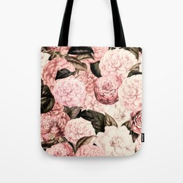 Vintage & Shabby Chic Pink Floral camellia flowers watercolor pattern Tote Bag