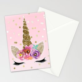 Floral Trendy Modern Unicorn Horn Gold Confetti Stationery Cards