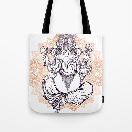 Lord Ganesha on Mandala Tote Bag