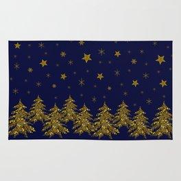 Sparkly Christmas tree, moon, stars Rug