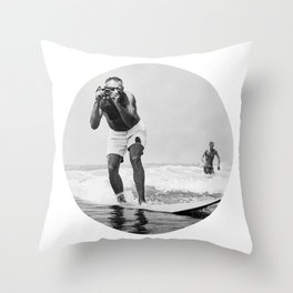 The Surfing Photographer Throw Pillow