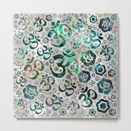 OM symbol pattern -Abalone shell on pearl Metal Print