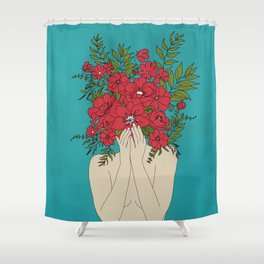 Blooming Red Shower Curtain