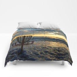 Disc Golf Basket Chesapeake Bay Virginia Beach Ocean Sunset Comforters