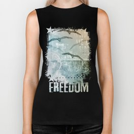 Free Like A Bird Seagull Mixed Media Art Biker Tank