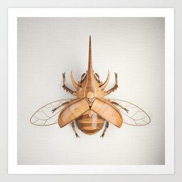 Wooden Rhinoceros Beetle Art Print