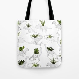 Dino and Cacti on White Tote Bag